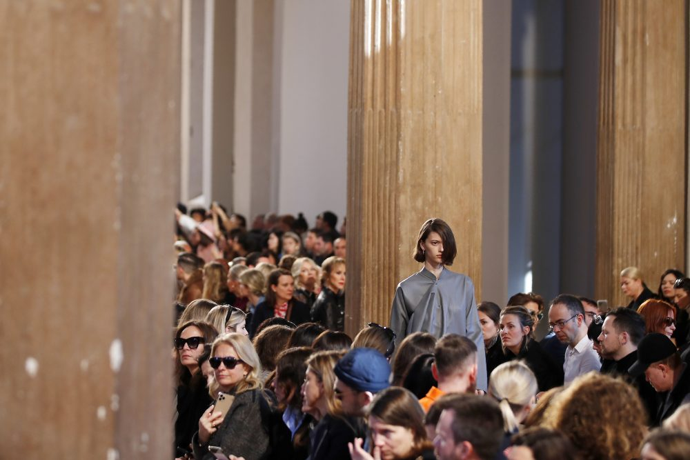 """A model wears a creation as part of the Salvatore Ferragamo women's Fall Winter 2020-21 collection. """"I think we have to live day by day because it is beyond our control,"""" Ferruccio Ferragamo, son of the late Salvatore Ferragamo, said at the brand's  runway preview."""