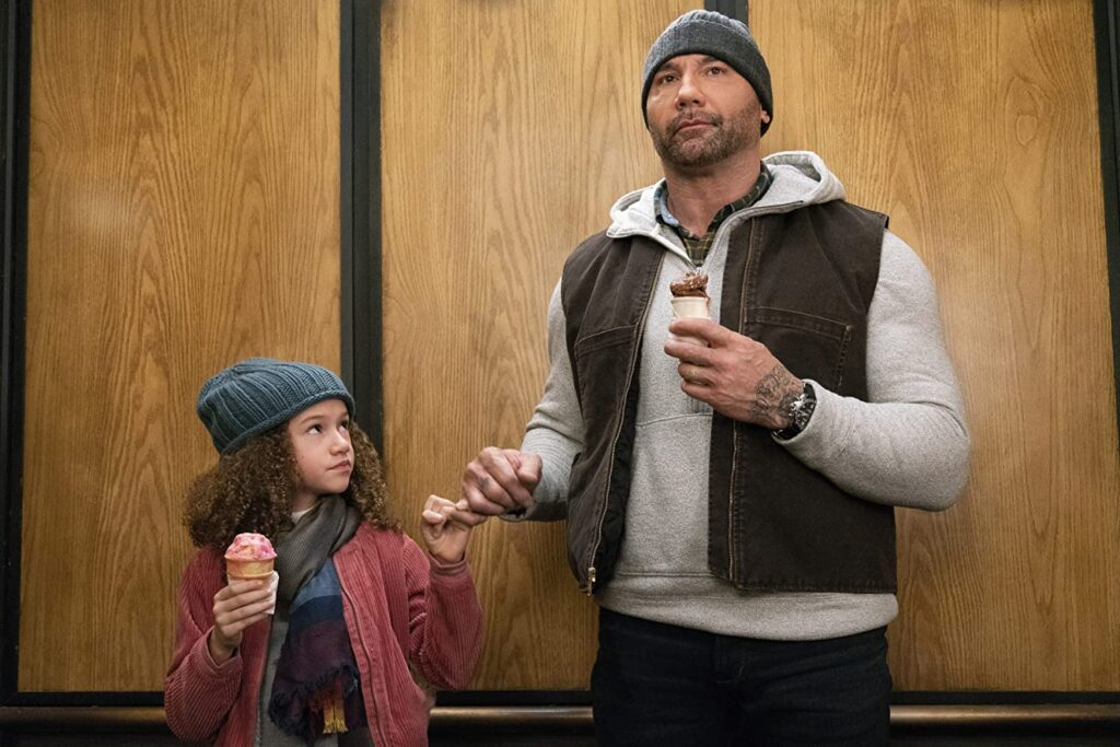 """Chloe Coleman,  left, and Dave Bautista in """"My Spy."""""""
