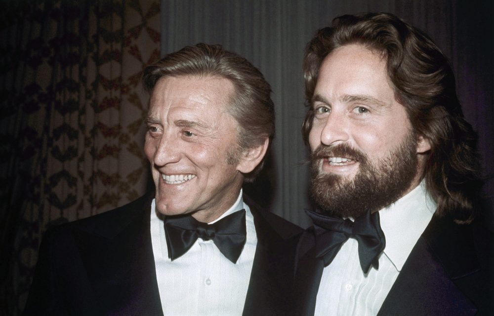 Father-son actors Kirk Douglas, left, and Michael Douglas in New York in 1976.