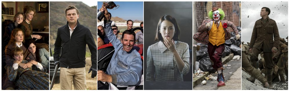 "This combination photo shows scenes from six Oscar nominated films, from left, ""Little Women,"" ""Once Upon a Time... in Hollywood,"" ""Ford v. Ferrari,"" ""Parasite,"" ""Joker,"" and ""1917."" The Oscars will be held on Sunday, Feb. 9. (Sony/Sony/20th Century Fox/Neon/Warner Bros/Universal Pictures via AP)"