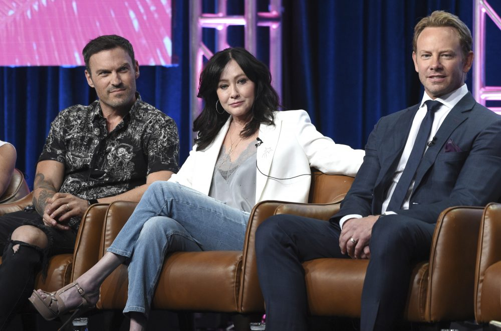 "Brian Austin Green, from left, Shannen Doherty and Ian Ziering participate in Fox's ""BH90210"" panel at the Television Critics Association Summer Press Tour in Beverly Hills, in August."