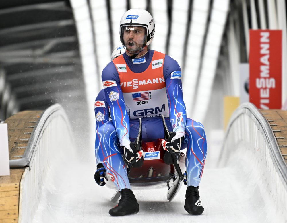Chris Mazdzer and Jayson Terdiman of United States a race at the World Luge Championships in Krasnaya Polyana on Feb. 16.