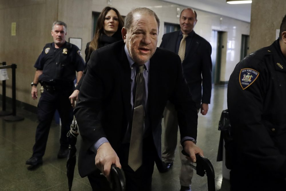 Harvey Weinstein arrives at court Friday for his rape trial in New York.