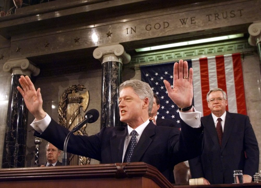 President Clinton gives  his State of the Union address on Jan. 19, 1999. House Speaker Dennis Hastert of Illinois is at right. Clinton delivered his address before a nation transfixed by his impeachment.