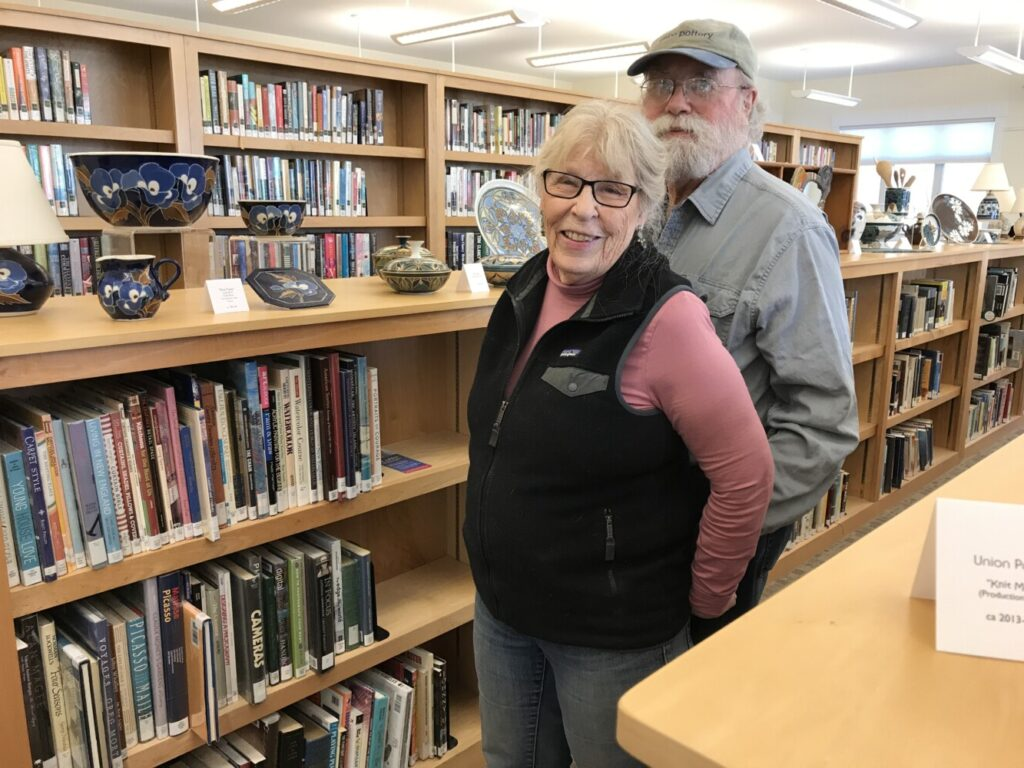 Sue Fairer, left, and Paul Gaudreau of Union Pottery will exhibit a large collection of pottery at Vose Library through February.