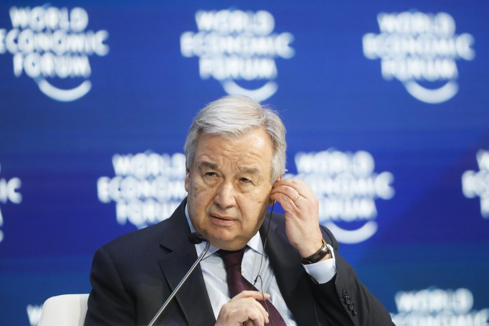 United Nations Secretary-General Antonio Guterres attends a session during the World Economic Forum in Davos, Switzerland, on Jan. 23.