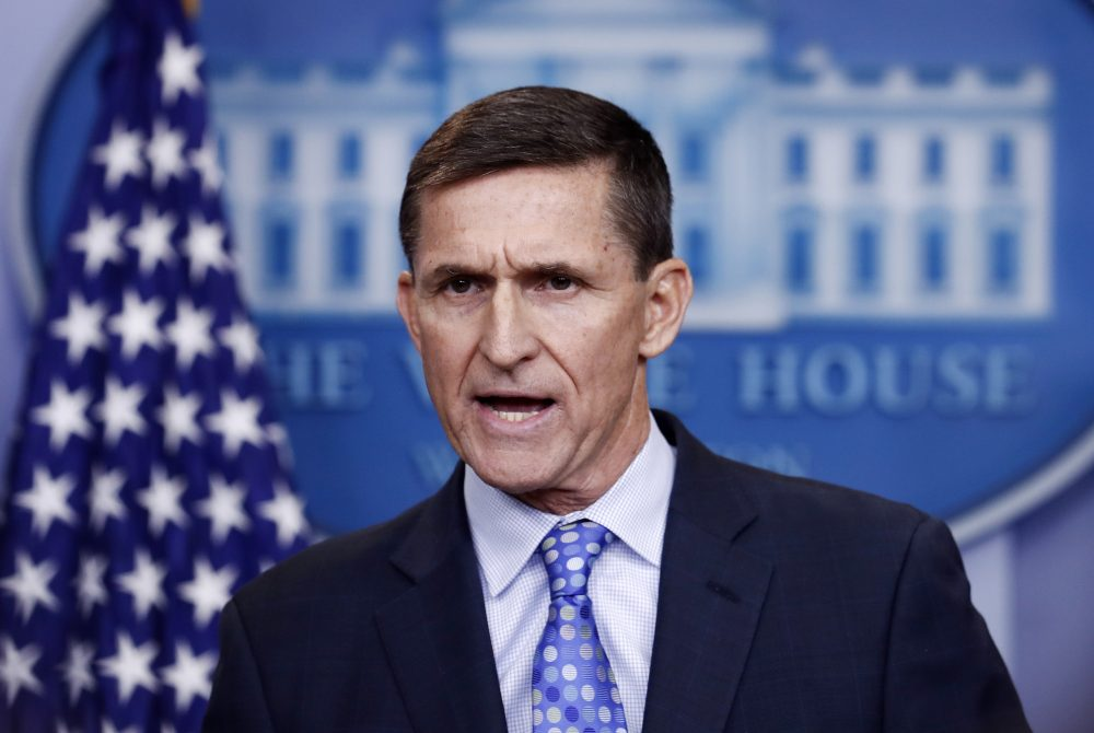 National Security Adviser Michael Flynn speaks in February 2017 during the daily news briefing at the White House in Washington.