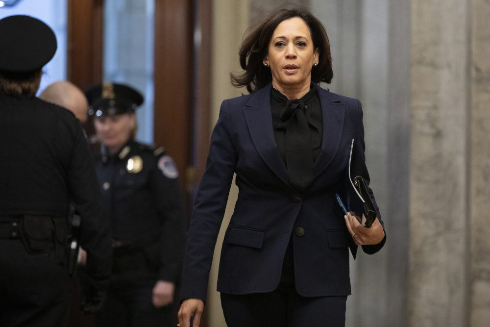 Sen. Kamala Harris, D-Calif., arrives on Capitol Hill in Washington in January.