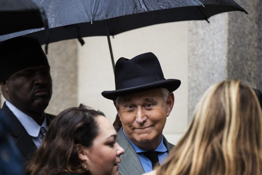 Roger Stone, a longtime Republican provocateur and former confidant of President Trump, is shown in November at the federal court in Washington. Federal prosecutors quit the case on Tuesday after the Department of Justice submitted a memo recommending a scaled-back prison term for Stone.