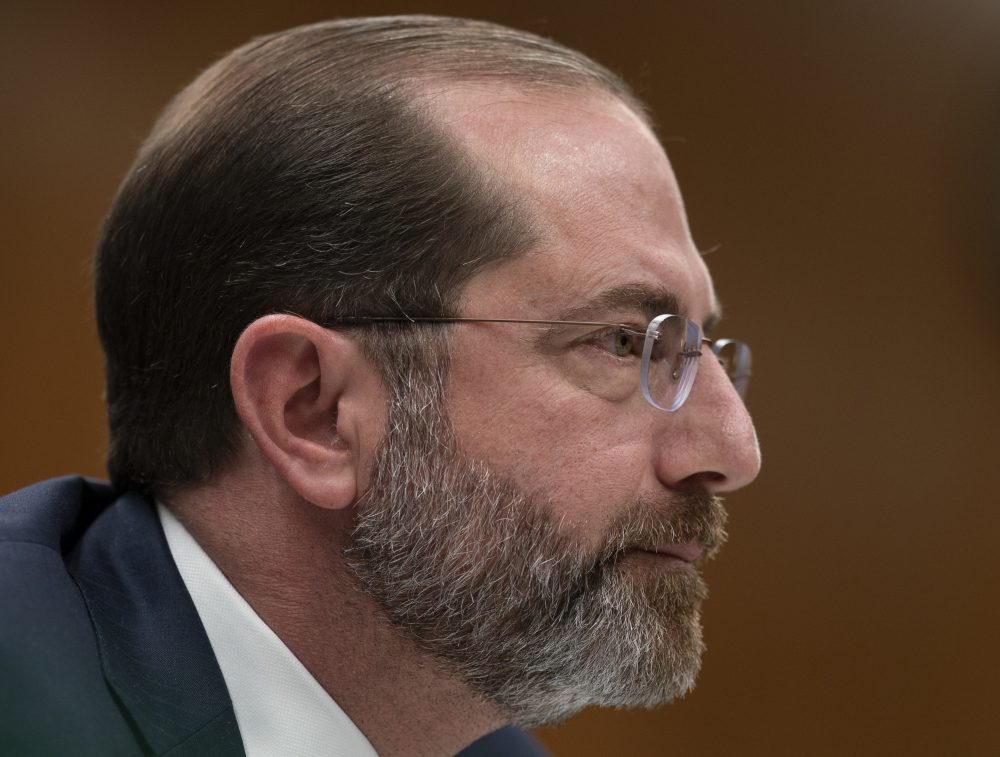 Secretary of Health and Human Services Alex Azar testifies before a Senate Appropriations subcommittee on President Trump's budget request for fiscal year 2021, on Capitol Hill in Washington on Tuesday.