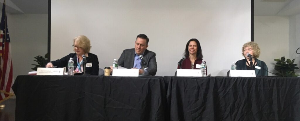 Three HR experts, Dennis Boyle of Seacoast Dx; Genevieve Fullilove of Robert Half; and Debby Olken of KMA Human Resources Consulting, shared their insights at a Business Breakfast Forum on multi-generational workplaces. At left is moderator Carol Coultas, business projects editor for the Press Herald.