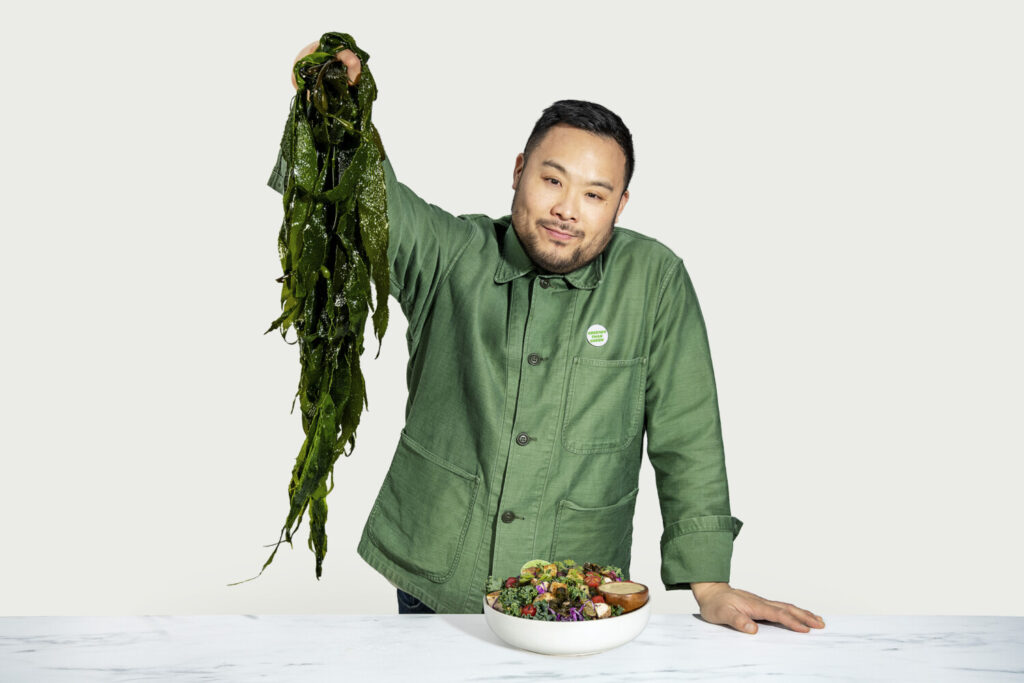 Chef and restaurateur David Chang was part of a team that created the new Tingly Sweet Potato and Kelp bowl at Sweetgreen. The salad chain is buying about 22,000 pounds of Maine-based Atlantic Sea Farms' supply for its kelp bowl.