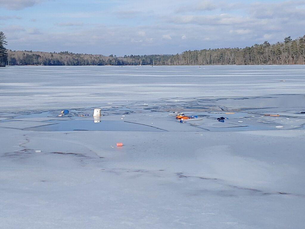 Two men were rescued from the ice on Crawford Pond in Warren on Saturday.