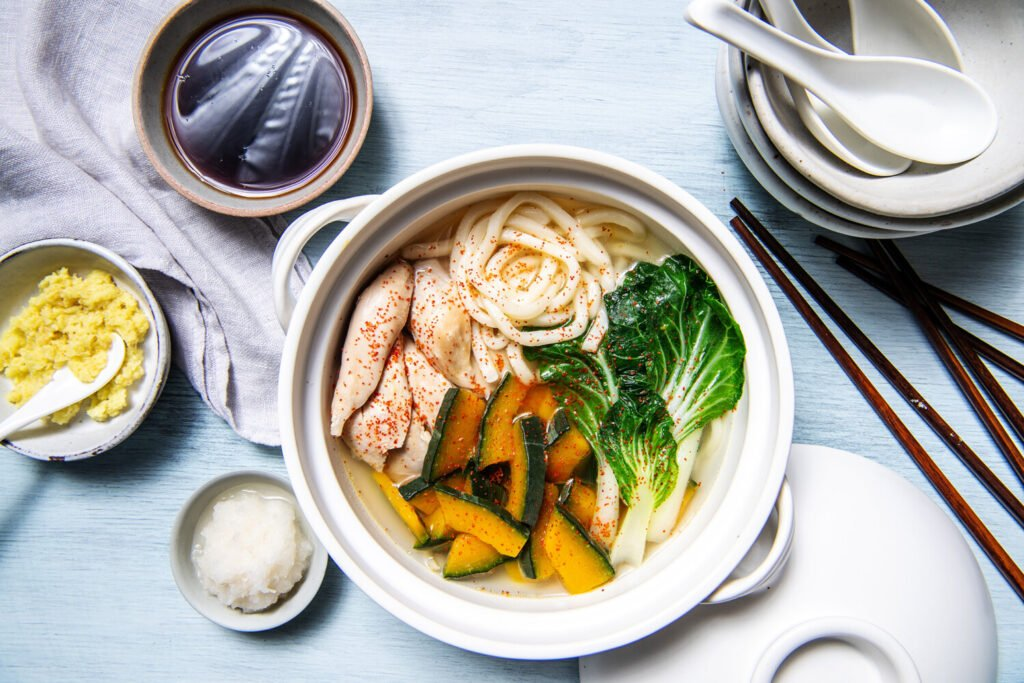 This one-pot soup combines chicken with noodles and winter squash.