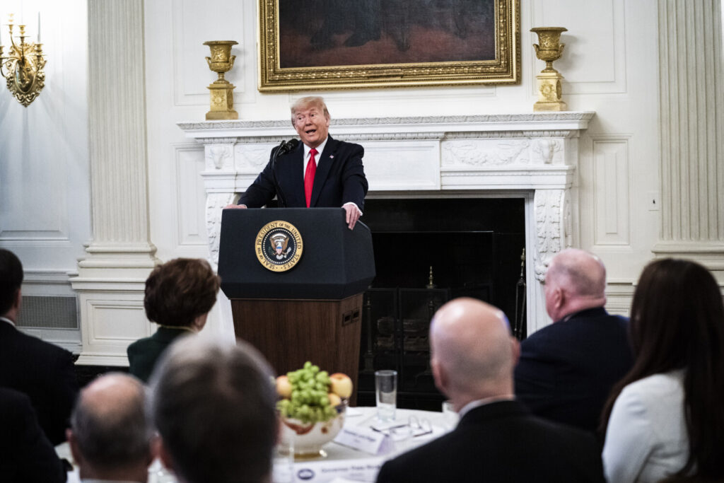 "President Trump delivers remarks at the ""White House Business Session with our Nation's Governors"" in the State Dining Room at the White House on Feb 10."