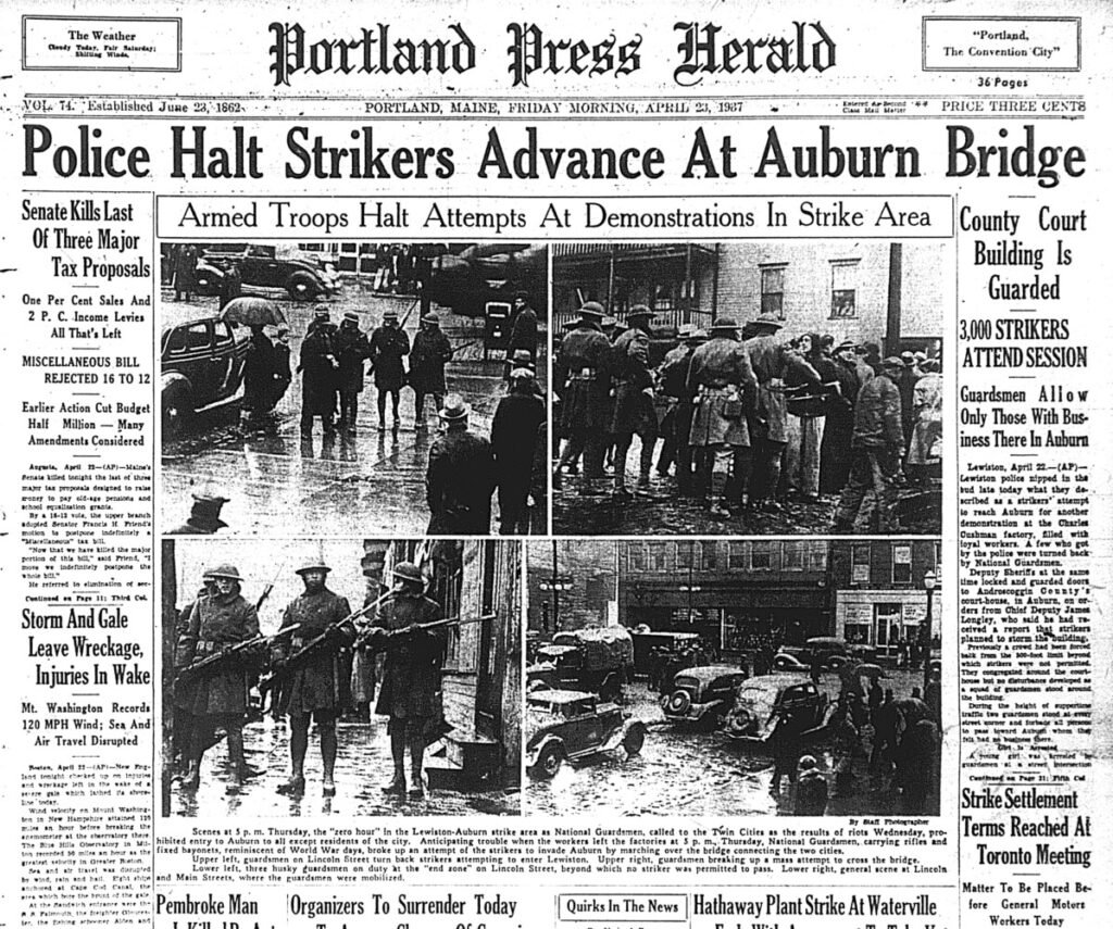 Front page of the Portland Press Herald April 23, 1937.