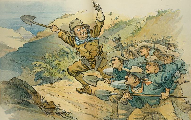 "Cartoon published in the periodical Puck in 1906 entitled Roosevelt's Rough Diggers. President Theodore Roosevelt is shown leading laborers with shovels towards the site of the Panama Canal. The man in the rear is wearing a hat with the name ""Jake"" on it, perhaps referring to John Frank Stevens."