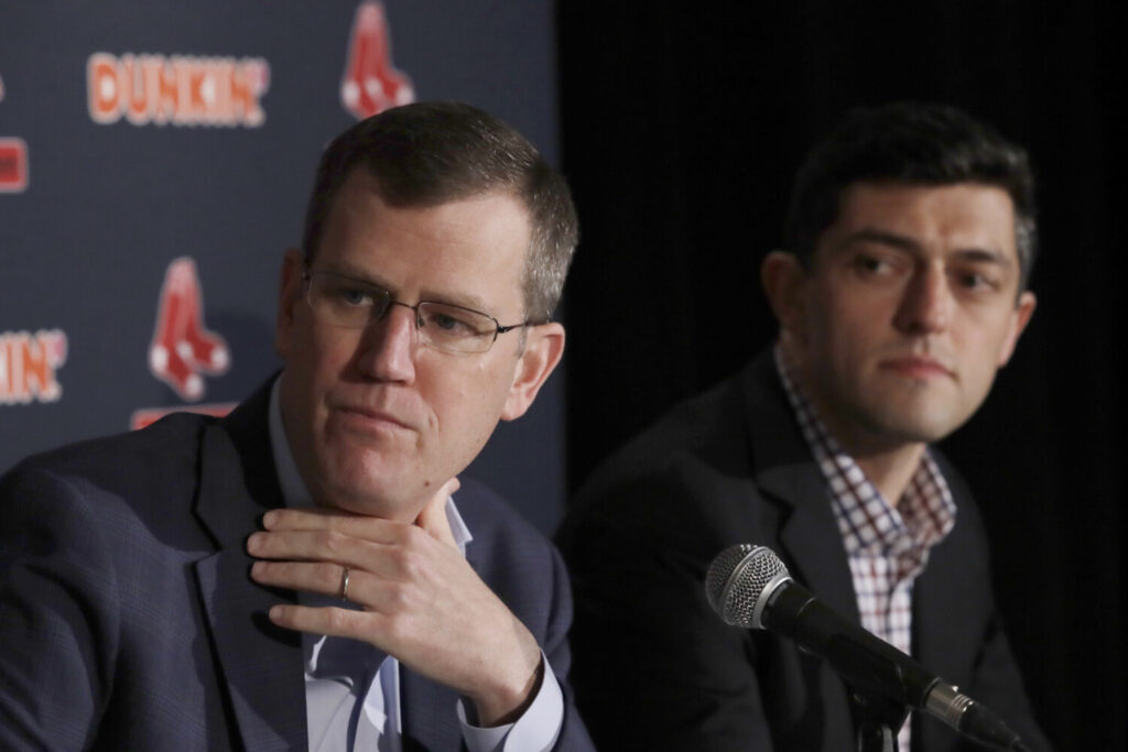 """Red Sox CEO Sam Kennedy is hopeful MLB will be able to salvage its 162-game season, but also admist, """"It's not just as easy as pushing play"""" to resume games. At right is Red Sox Chief Baseball Officer Chaim Bloom."""