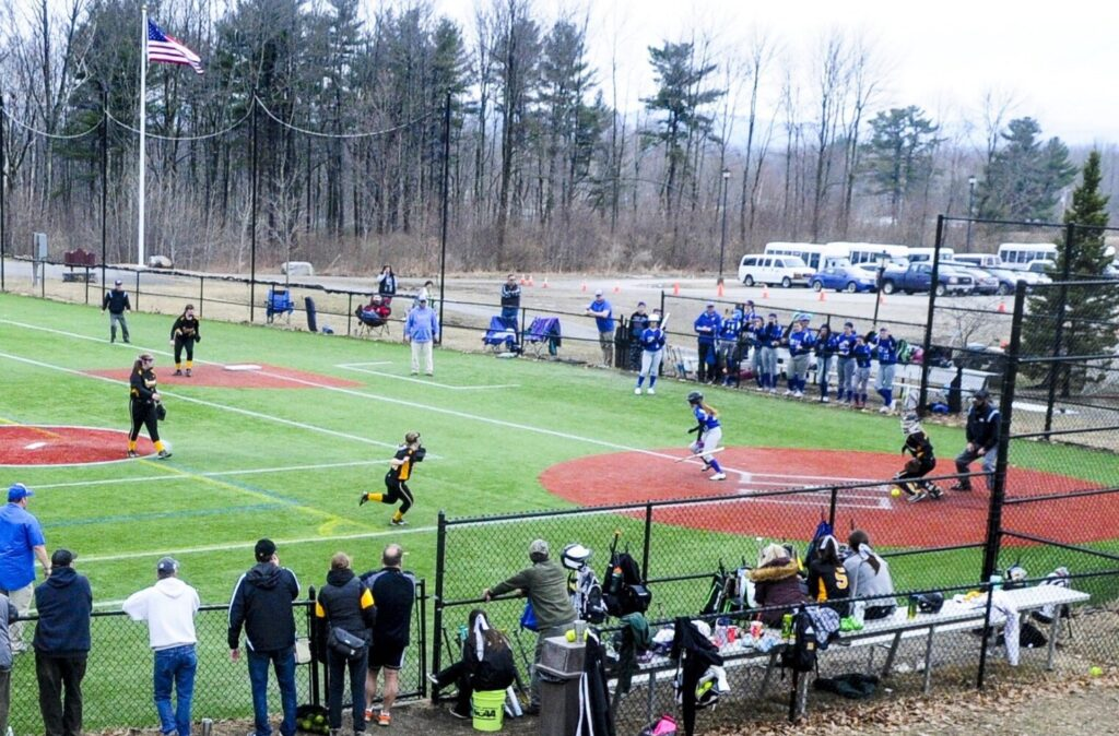 Maranacook hosts Old Orchard Beach at Kents Hill in a game last April. The MPA will allow coaches to communicate with their athletes with the start of the season on hold until at least April 27 because of the coronavirus pandemic.