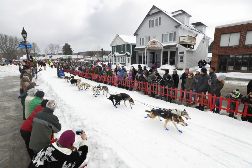 Musher Denis Tremblay, of Saint Michel des Saints, Quebec, Canada, leads his team at the start of the Can-Am Crown in the 2018 race. He won this year's Can-Am on Monday.