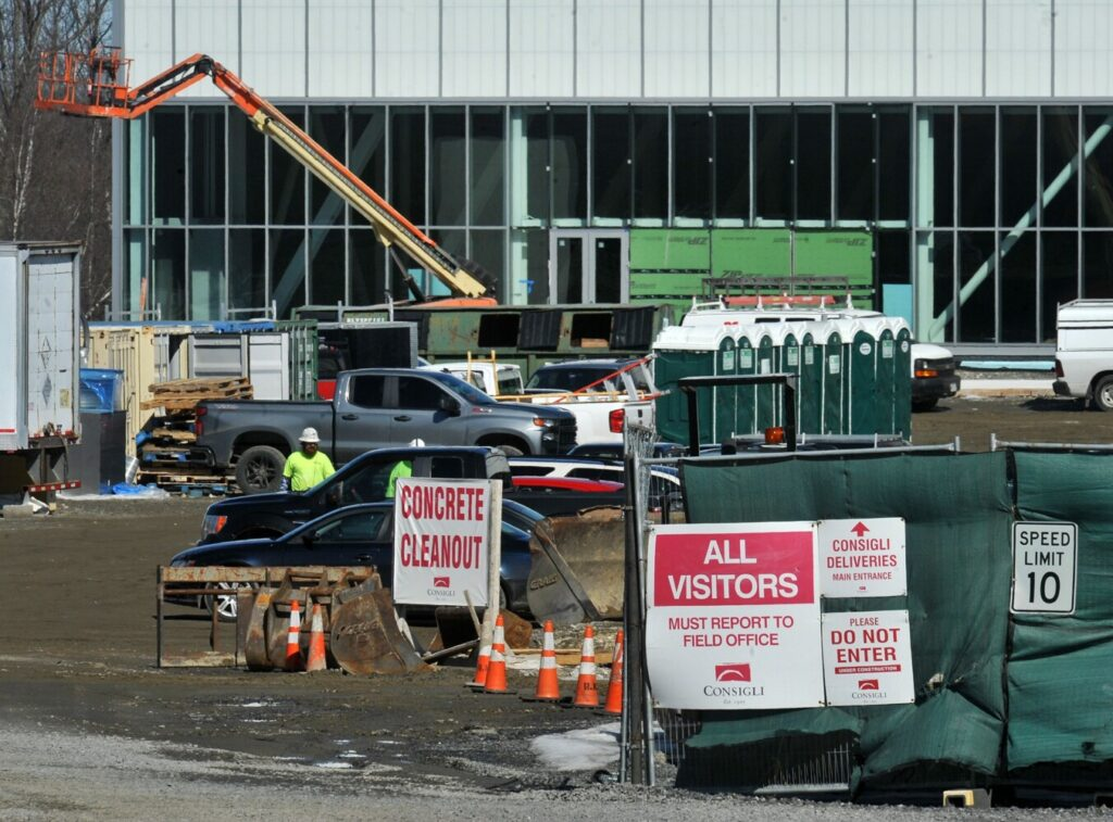 Work continues Thursday at the new athletic complex at Colby College in Waterville. Trustee Marieke Rothschild and her husband, Jeff, gave the college a $16 million gift, a portion of which will help fund the athletic complex.