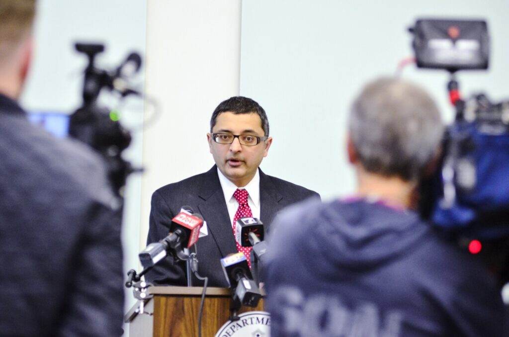 Dr. Nirav Shah, director of the Maine Center for Disease Control and Prevention,  briefs reporters during a news conference about the novel coronavirus on Tuesday in Augusta.