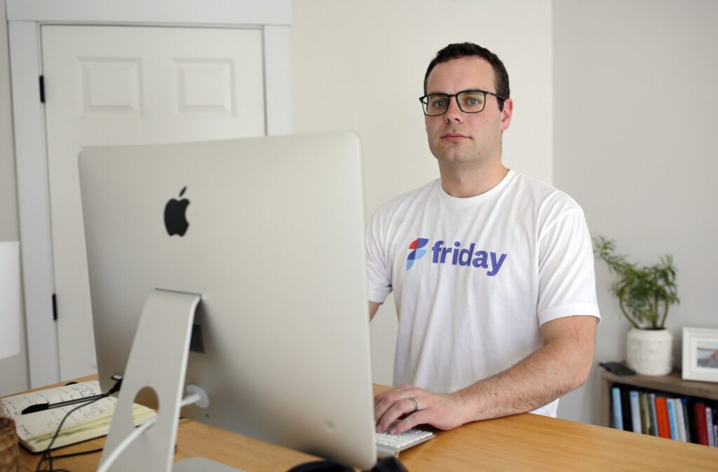 Luke Thomas of Friday, a company that builds software for remote communication, on March 24. Friday is a finalist in the Zoom App Marketplace Competition, to be live-streamed ... Friday.