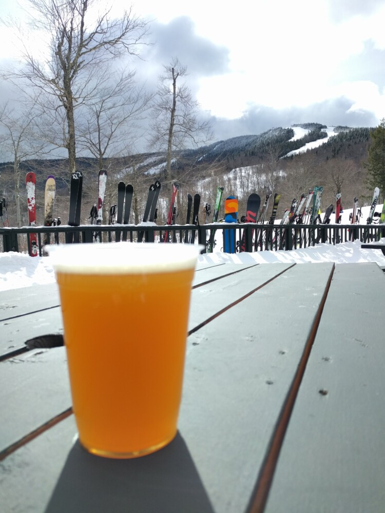 What does après ski mean to Mainers? A good local beer, here shown at Sunday River.