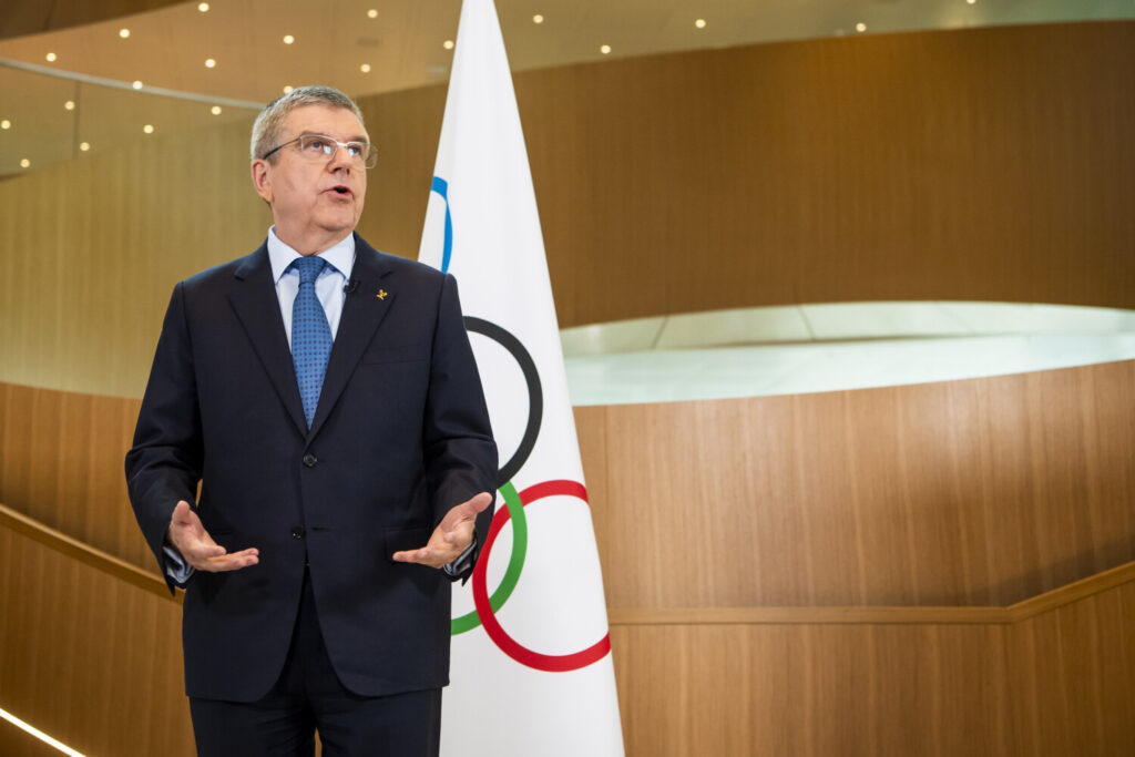 International Olympic Committee (IOC) president Thomas Bach speaks during a statement on the coronavirus and the Tokyo Olympic Games  after the executive board meeting of the IOC, at the Olympic House, in Lausanne, Switzerland,  on March 3.