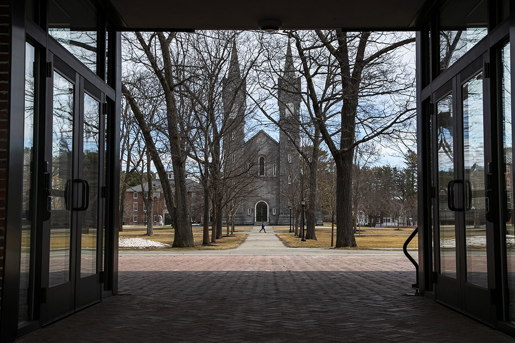 The Bowdoin College campus in Brunswick is nearly empty Wednesday, during spring break. It will remain that way because the school is asking students not to return to campus after spring break, and to take classes online because of concerns about the coronavirus.