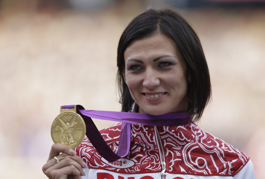 Russia's Natalya Antyukh, who won the gold medal in the 400-meter hurdles at the 2012 Olympics, was one of four Russian track and field athletes charged with doping violations on Friday.