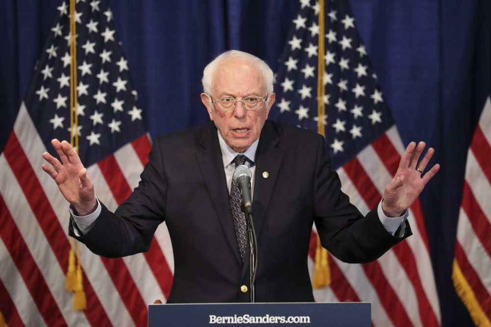 Democratic presidential candidate, Sen. Bernie Sanders, I-Vt., speaks to reporters on Wednesday in Burlington, Vt., where he said he intends to continue seeking the nomination.
