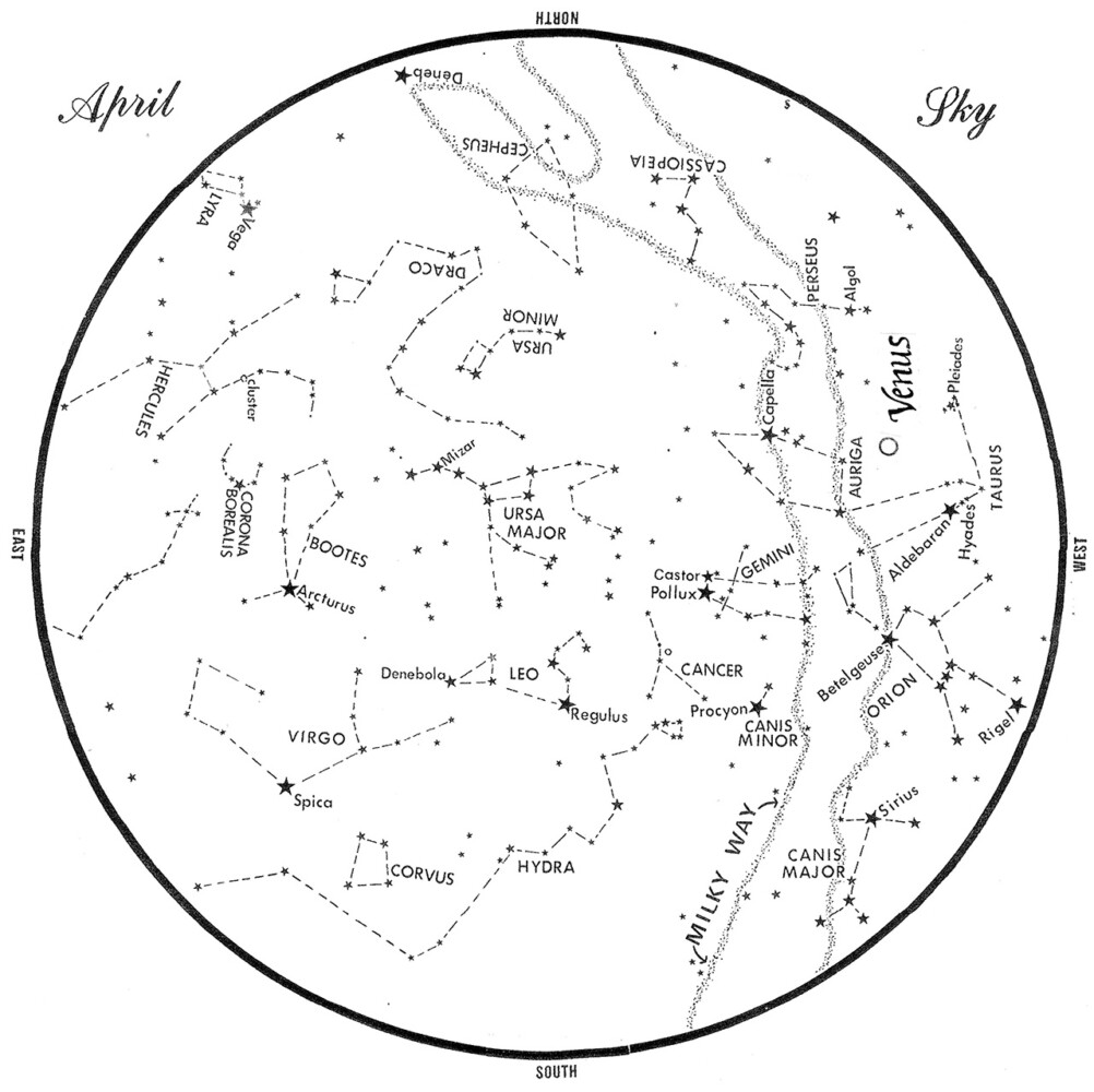 SKY GUIDE: This chart represents the sky as it appears over Maine during April.  The stars are shown as they appear at 10:30 p.m. early in the month, at 9:30 p.m. at midmonth and at 8:30 p.m. at month's end.  Venus is shown in its midmonth position.  To use the map, hold it vertically and turn it so that the direction you are facing is at the bottom.