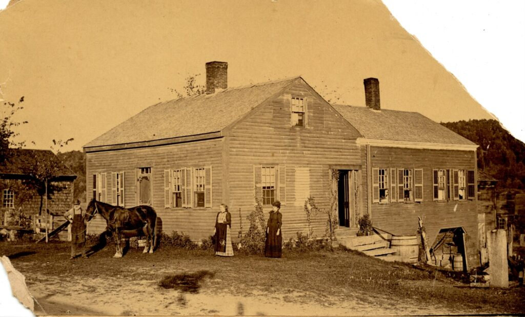 Taken in 1894 more than 40 years after Dr. Horace A. Barrows died, this photo shows the house where he lived in Bolsters Mills in Harrison. The woman in the center in the plaid dress is Louisa Hawkes Barrows Dorman, his adopted daughter. In the 19th century, Barrows praised the merits of a vegetarian diet.