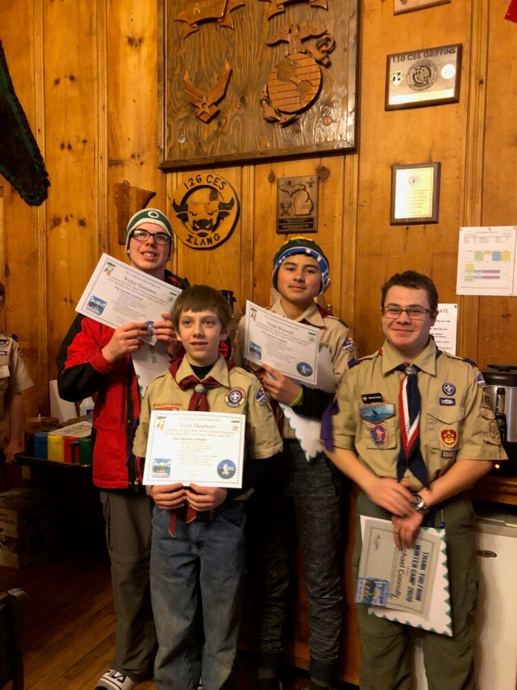Boy Scouts from Troop 428 in Pittsfield and Troop 485  in Skowhegan recently took part in Pine Tree Council's Winter Camp at Camp Hinds in Raymond. Front from left are Tyler Dearborn and Michael Connolly.  Back from left are Walter Hautanen and Noah Wiswall.
