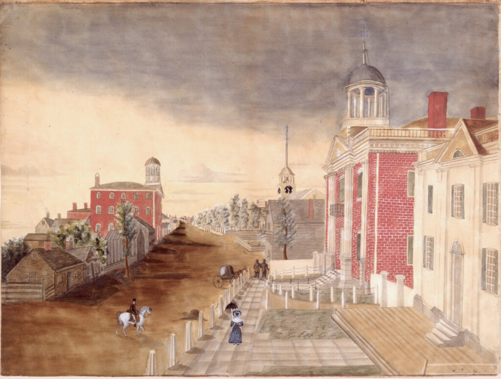 Congress Street in Portland, 1822-1825. Maine's first State House is the white wooden building on the right in this early view of Portland's Congress Street.