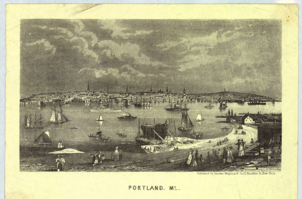 Portland is depicted in the 1860s in a lithograph by Charles Magnus.