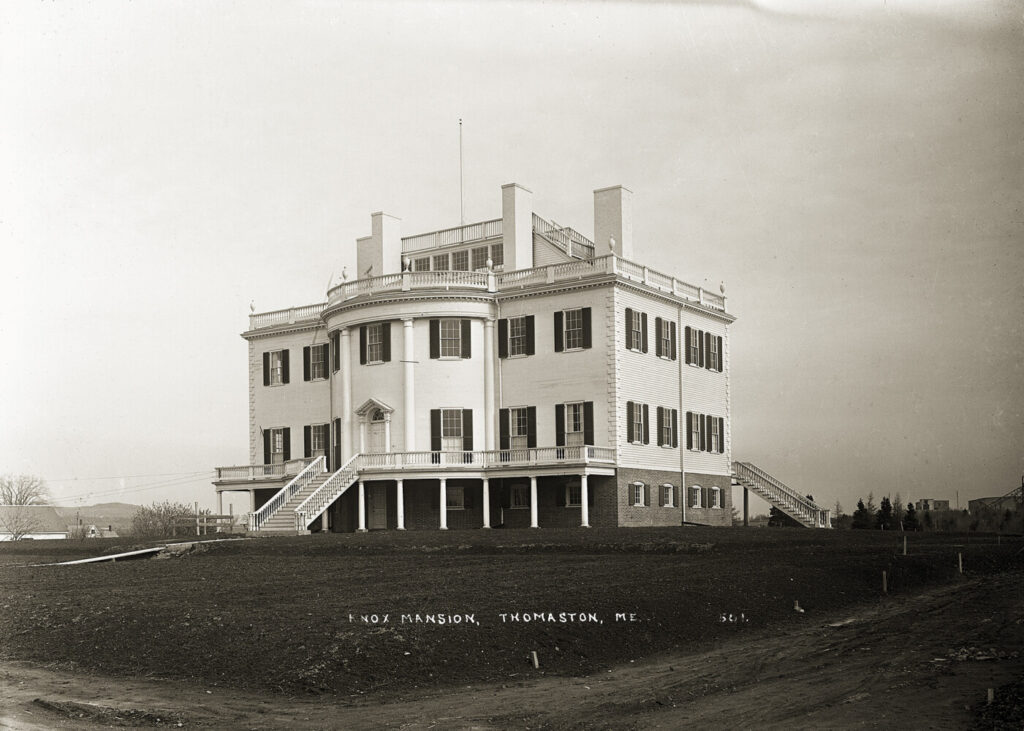 Montpelier, the grand mansion built by land baron Henry Knox in Thomaston, fell into such disrepair after his death that it became the inspiration for Nathaniel Hawthorne's House of Seven Gables after he visited it. It was razed in 1871 to make way for the railroad, and this replica – shown shortly after its completion in 1929 – was later built across town.