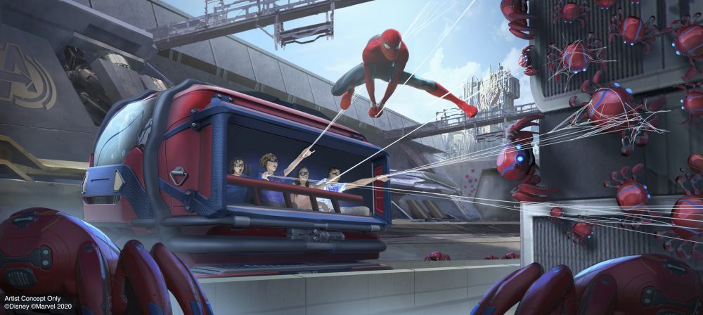 This artist rendering released by Disneyland Resort shows a concept for the Spider-Man Adventure attraction in Avengers Campus at Disney California Adventure Park in Anaheim, Calif. The attraction will allow guests to put their web-slinging skills to the test as they team up with Spider-Man to capture his out-of-control Spider-Bots before they wreak havoc on the Campus.