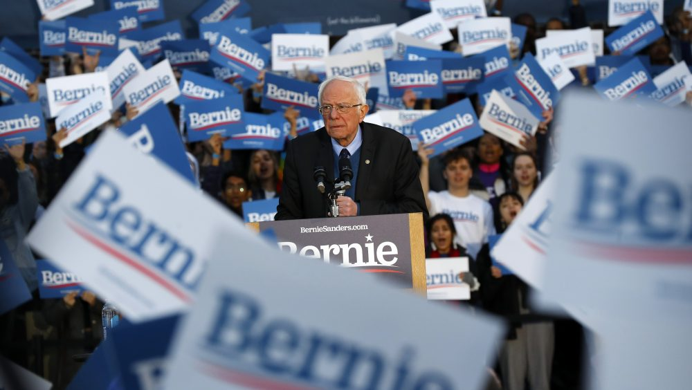 Democratic presidential candidate U.S. Sen. Bernie Sanders, I-Vt., speaks during a campaign rally at the University of Michigan in Ann Arbor on Sunday.