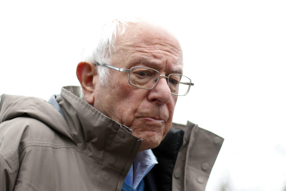 Democratic presidential candidate Bernie Sanders campaigns outside a polling location   in Detroit on Tuesday. His loss in the Michigan primary was a major setback for his campaign.