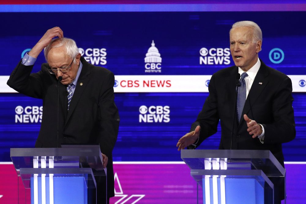 From left, Democratic presidential candidates Sen. Bernie Sanders, I-Vt., and former Vice President Joe Biden, participate in a Democratic presidential primary debate Feb. 25 in Charleston, S.C.