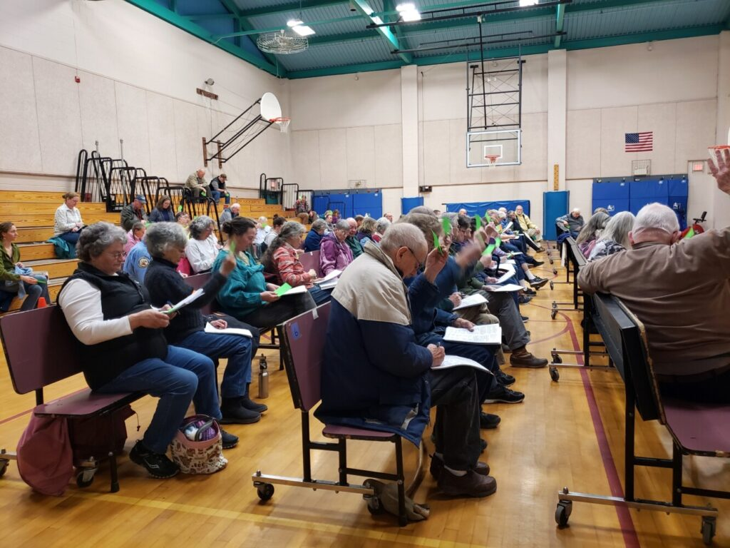 Nearly 75 voters turned out Saturday for the New Sharon annual town meeting.