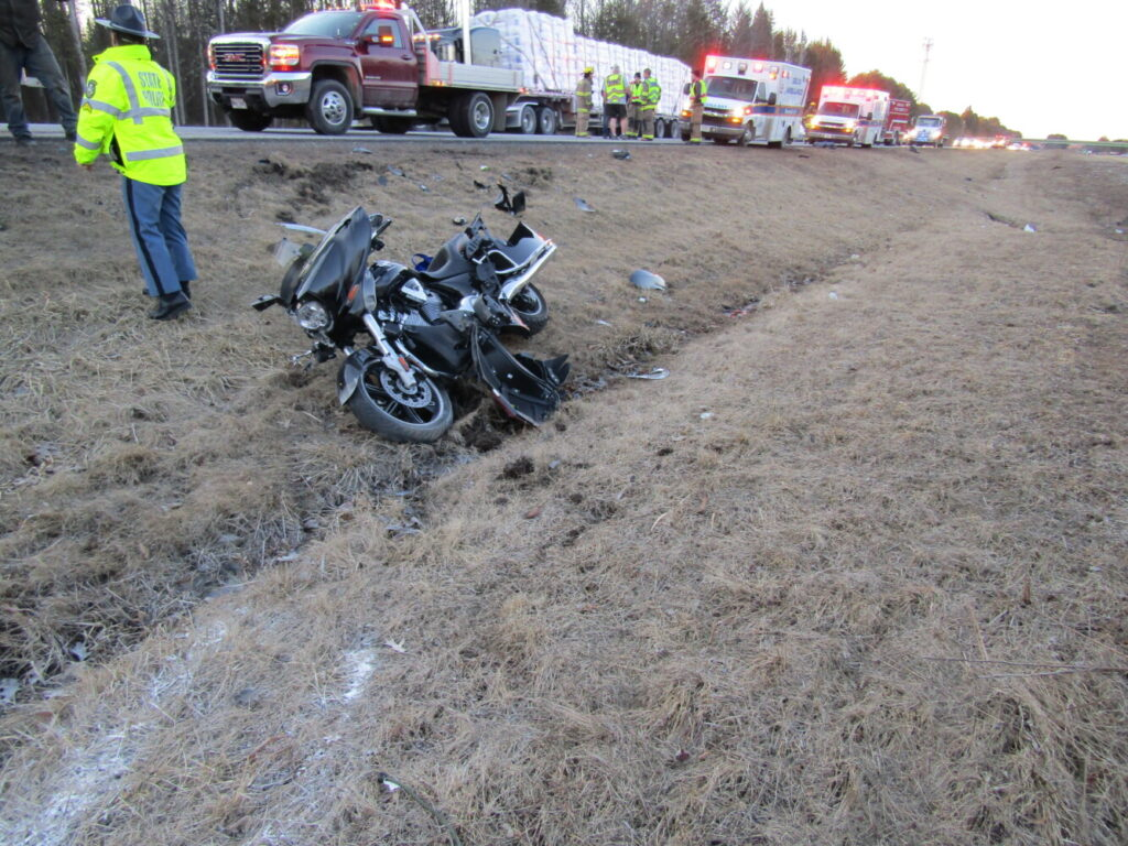 The aftermath of a Sunday evening motorcycle crash that seriously injured a 44-year-old Sidney man who was flown by LifeFlight to a hospital in Lewiston.