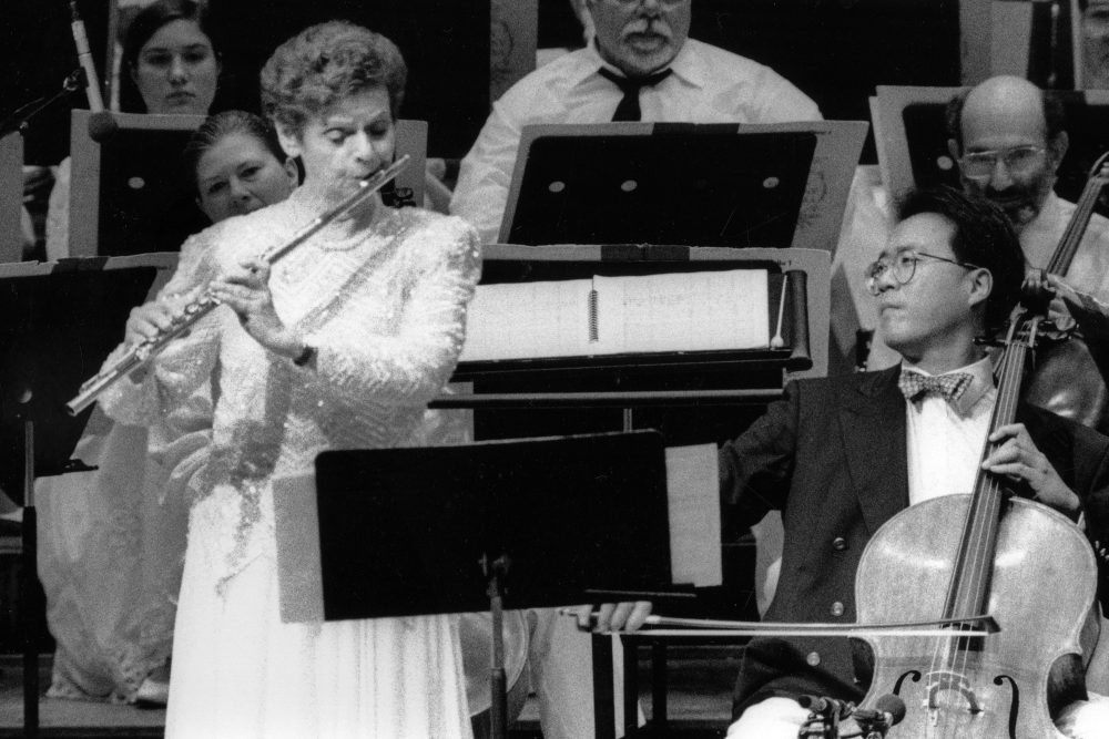 """Flutist Doriot Anthony Dwyer, left, and cellist Yo-Yo Ma perform the world premiere of Bernstein's """"Variations on an Octatonic Scale"""" in Boston in 1995."""