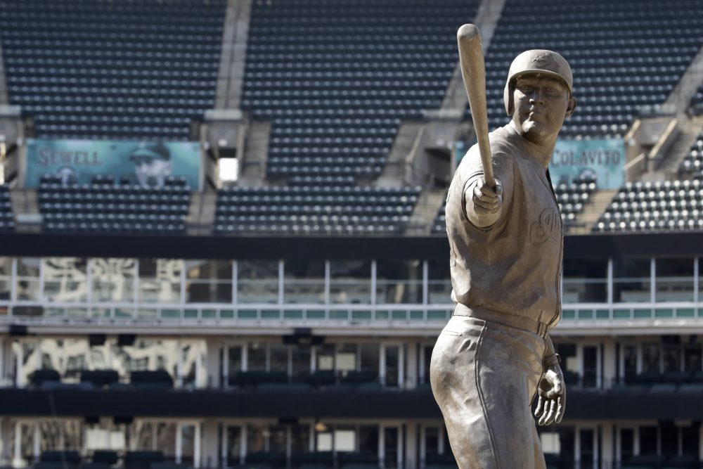 A statue of former Cleveland star Jim Thome stands in an empty Progressive Field on March 26, 2020, in Cleveland.
