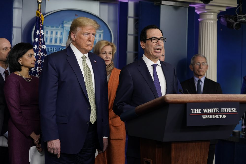 Treasury Secretary Steven Mnuchin speaks during a news briefing with President Trump and the coronavirus task force at the White House on Tuesday in Washington.