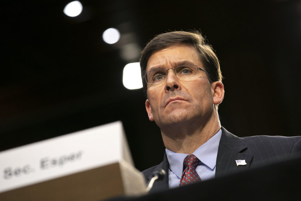 Defense Secretary Mark Esper testifies to the Senate Armed Services Committee about the budget March 4.