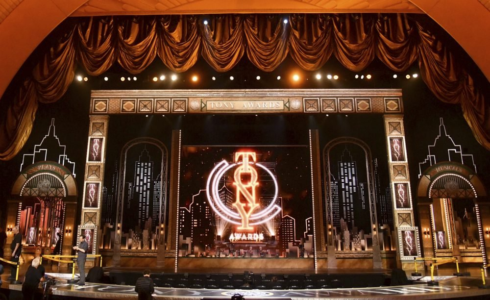 This June 9, 2019 file photo shows the stage prior to the start of the 73rd annual Tony Awards at Radio City Music Hall in New York.