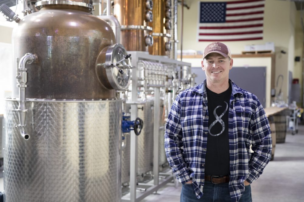 Chad Butters, founder of Eight Oaks Farm Distillery, said he grew increasingly angry as he saw the skyrocketing price of hand sanitizer and is  temporarily converting his operation into a production line for the suddenly hard-to-find product.